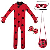 Yigoo Disfraz de Ladybug de mariquita para niña, disfraz de Halloween, carnaval, mono, fiesta, cosplay, juego de 3 unidades, mono, máscara, bolsa, clips para los oídos, S