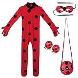 Yigoo Ladybug Mädchen Marienkäfer Kostüm Kinder Halloween Karneval Overall Party Cosplay 3er Set...