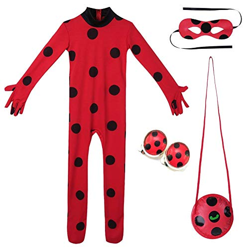 Yigoo Ladybug Mädchen Marienkäfer Kostüm Kinder Halloween Karneval Overall Party Cosplay 3er Set - Jumpsuit, Augenmaske, Tasche, Ohrclips Ohrklemmen XS