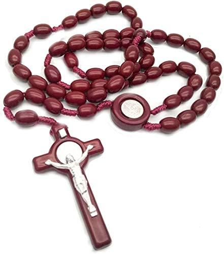 ZVBEP Collar Hombres S Cruz Jesús Collar Colgante Largo acrílico con Cuentas Rosario Cadena Collares para catolicismo joyería Masculina