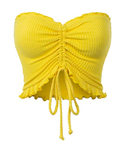MixMatchy Women's Sexy Frill Knot Front Knit Strapless Tube Crop Top Yellow M