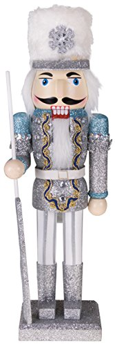 Clever Creations Traditional Wooden Collectible Snow King Christmas Nutcracker | Festive Christmas Decor | 100% Wood | 14' Tall Perfect for Shelves and Tables