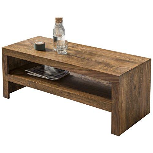 Wohnling Couchtisch Massiv-Holz Sheesham 110 cm breit Wohnzimmer-Tisch Design Landhaus-Stil Beistelltisch Natur-Produkt Wohnzimmermöbel Unikat modern Massivholzmöbel Echtholz rechteckig dunkel-braun