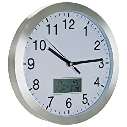 Trademark Global 72-CW175 Aluminum Weather Forecast Wall Clock, 12-Inch