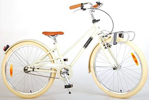 Bici Bicicletta Bambina Ragazza Melody 24 Pollici con Portapacchi Anteriore Sabbia 85% Assemblata