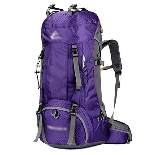 GELing 60L Mochila Senderismo Mochila Hombre Impermeable de Trekking Viaje Montaña Acampada Escalada,Púrpura,68X33X20cm