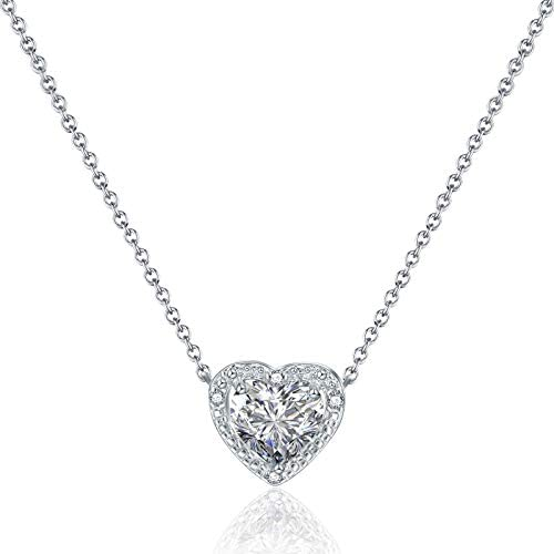 Beyond Love Double Heart Pendant Necklace 14K White Gold Plated Dainty Silver Chain Choker 5A product image