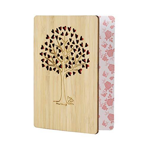 EKKONG Tarjeta Felicitacion, tarjetas agradecimiento boda de bambú con un sobre, para cumpleaños, bodas, aniversarios