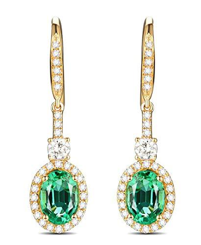 AMDXD 18 Karat Gold Damen Ohrringe Oval Ohrhänger Glitzer Ohrstecker Gold mit Weiß Grün Diamant Smaragd