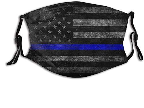 """""""N/A"""" Máscara de patrón de línea azul delgada Bufanda ajustable reutilizable Pasamontañas antipolvo a prueba de viento para hombres y mujeres"""