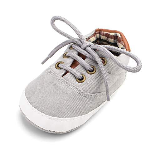 BENHERO Baby Boys Girls Canvas Toddler Sneaker Anti-Slip First Walkers Candy Shoes 0-24 Months 12 Colors(12cm,6-12 Months Infant, Bb/Light Grey)
