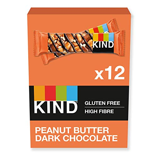 KIND Bars, Healthy Gluten Free & Low Calorie Snack Bars, Peanut Butter Dark Chocolate, 12 Bars, (Packaging May Vary)