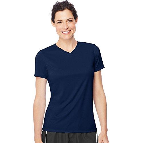 Hanes Women's Cool Dri V-Neck T-Shirt, Navy, S