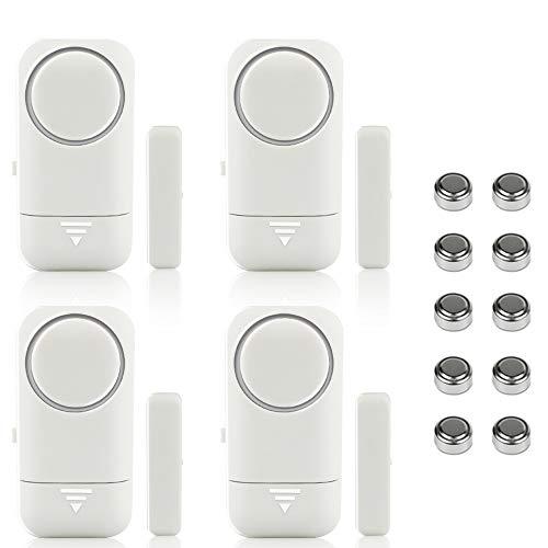 Shackcom 4pcs Alarma para Puertas y Ventanas de 120 dB para casa con Sensor Magnético Inalámbrico para Sistema de Seguridad para el hogar y Seguridad Infantil - Antirrobo Detectores Sirenas con Pilas