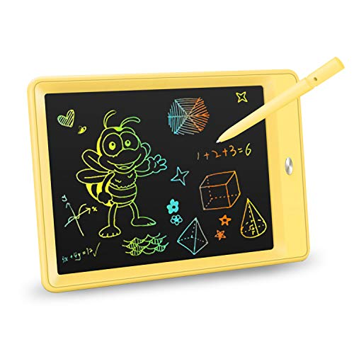 KOKODI LCD Writing Tablet, 10 Inch Colorful Toddler Doodle Board Drawing Tablet, Erasable Reusable Electronic Drawing Pads, Educational and Learning Toy for 3-6 Years Old Boy and Girls (Yellow)