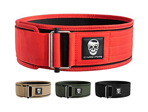 Gymreapers Quick Locking Weightlifting Belt for Bodybuilding, Powerlifting, Cross Training - 4 Inch Neoprene with Metal Buckle - Adjustable Olympic Lifting Back Support (Red, X-Large)