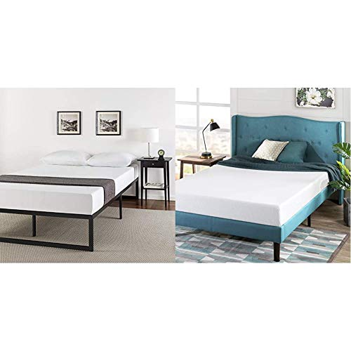 Zinus ABEL 14 Inch Metal Platform Bed Frame with Steel Slat Support, Mattress Foundation, Queen & Green Tea 6-inch Memory Foam Mattress, Queen