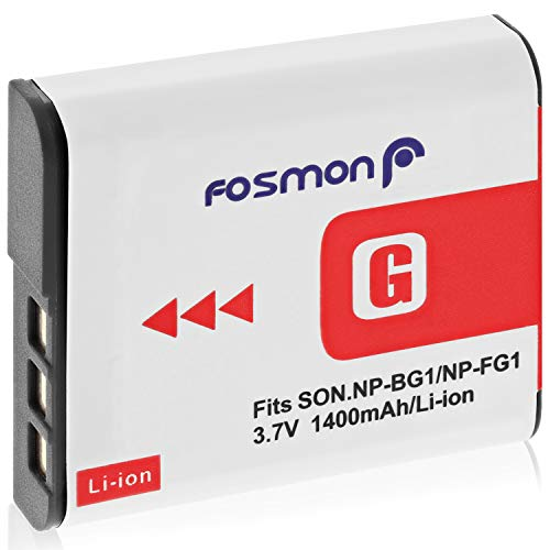 Fosmon Premium Sony NP-FG1 / NP-BG1 (3.7V / 1400 mAh) High Capacity Replacement Rechargeable Li-on Type G Battery Pack for Sony Cyber-Shot W Series Cameras DSC-W120, W110, W115, W130, W150, W170, W210, W300, DSC-T100, DSC-T20, DSC-N1, N2, H50 (2 Pack)