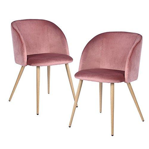 DORAFAIR Pack de 2 Sillas de Comedor Soft Retro Velvet Cushion en Estilo Retro escandinavo,sillón con el Estilo de Madera Patas de Metal Resistente,Rosa Roja
