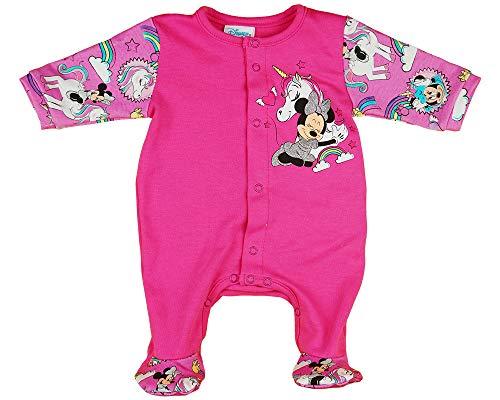 Baby Strampler Disney Minnie Mouse Langarm Babystrampler - Babykleidung mit Füßchen Pink für Mädchen 56 62 Schlafanzug/Spiel-Anzug/Overall, Größe: 62