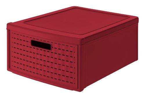 Rotho Country Schubladenbox 19.2 l in Rattan-Optik, Kunststoff (PP), roth, 19.2 Liter (45 x 34 x 20 cm)