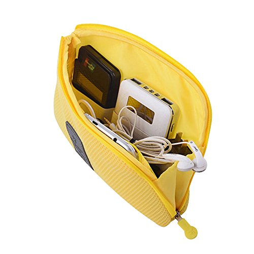 Travel Universal Organizer Bag / Electronics Accessories Case Packing Storage Bag, Multifunctional Shockproof Makeup Pouch, Gadget Bag, Data Cable Travel Case With Mesh (Size L, Yellow) - Happy Hours