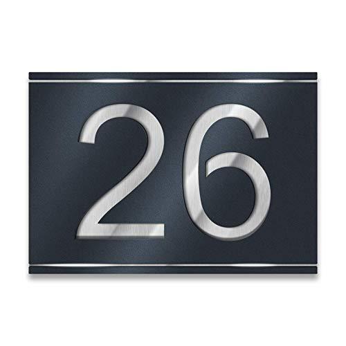 Metzler Hausnummer aus Edelstahl - Anthrazit (RAL 7016) / Schwarz/Weiß - Hausnummernschild - Größen wählbar