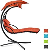 Patio Chair Hammock Chair Hanging Chairs Indoor Outdoor Swing Lounge Chair with Pillow, Canopy, Stand - Heavy Duty Arc Stand Floating Curved Chaise for Pool, Backyard, Deck - Orange