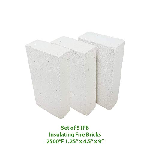 "Price comparison product image Insulating FireBrick 9"" x 4.5"" x 1.25"" IFB 2500F Set of 5 Fire Brick for Pizza Ovens,  Kilns,  Fireplaces,  Forges"