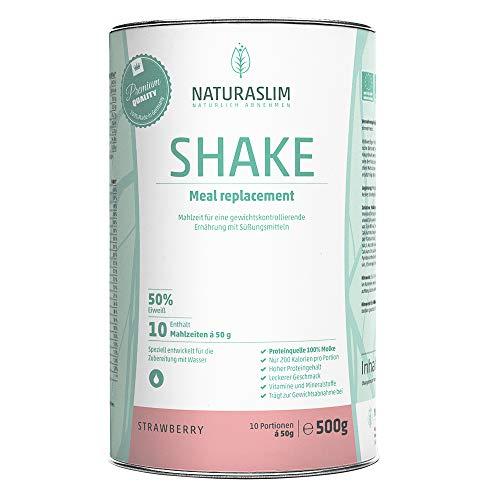 Diät Shake Erdbeere zum Abnehmen | Mahlzeitersatz | hoher Proteingehalt | 218 kcal | Naturaslim - Strawberry Cream, 500g