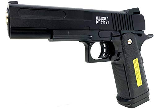 Seilershop Softair Gun Metall Airsoft Federdruck Pistole 19cm Inkl Magazin 0,49 Joule Black