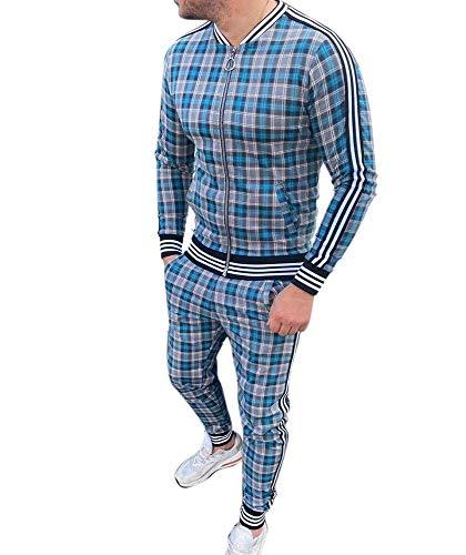 Zweiteiliger Satz Basketball-Trainingsanzüge für Männer Sportswear Plaid Bedruckter Big Zip Up Sweatshirt-Anzug Gerippte Manschette und Saum