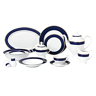Lorren Home Trends 57 Piece 'Midnight' Bone China Dinnerware Set (Service for 8 People), Blue