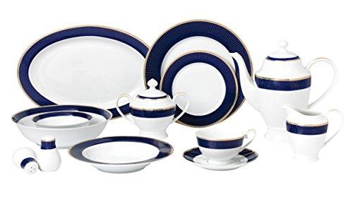 Lorren Home Trends Midnight-57 57 Piece Dinnerware Set-Bone China...