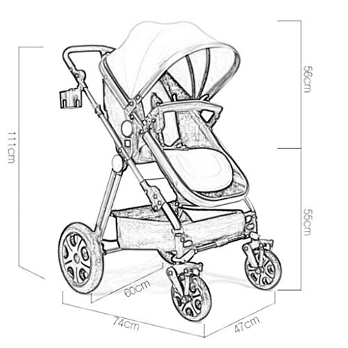 MU Bequeme Kinderwagen 3-in-1-Kinderwagen Hochformat Horizontaler Sitzschirm Tragbarer, zusammenklappbarer, bidirektionaler 4-Rad-Stoßdämpfer Newborn Four Seasons Universal Travel,GRAU