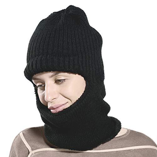 Danolt Sombrero Tejido de Invierno Unisex Espesar Paño Grueso y Suave Máscara de esquí Cuello Suave Calentamiento Anti-frío Ciclismo Balaclava para el Aire Libre, Que Cubre Toda la Cara, Negro