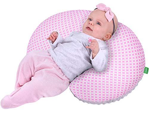 LuLANDO MINKY - Cojín de lactancia en forma de creciente para lactancia, 55 x 42 cm, para mujeres embarazadas, funda de almohada intercambiable, algodón 100%, certificado Oeko-Tex®, color gris y rosa