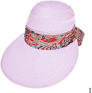 KLNOC Sombrero para El Sol Moda Mujer Verano Exterior Anti-UV Sol Sombrero Playa Protector Solar Plegable Impresión Floral Caps Cuello Cara Ancha ala Sombrero
