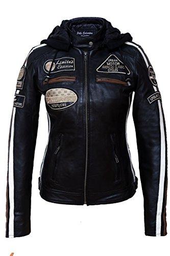 Damen Motorradjacke mit Protektoren, Schwarz, Große : S