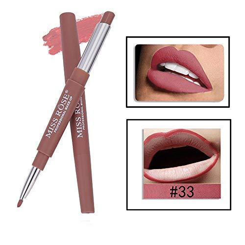 Tonsee MISS ROSE Sexy Métallique Lip Gloss Fashion Rouge à lèvres Double-end Lasting Lipliner Waterproof Lip Liner Stick Pencil 20 Color (33#)
