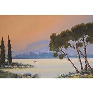 """Boot auf dem Bergsee"" / Acryl auf Leinwand / 50 x 70 cm"
