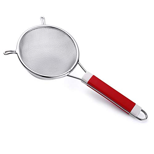 Tenta Kitchen Stainless Steel Fine Mesh Strainer Broth Strainer with ABS Solid Color Sturdy Handle and 2 Wider Hook - Perfect for Clams Rice Bone Broth Fruits and Vegetables(Dia 7.5')