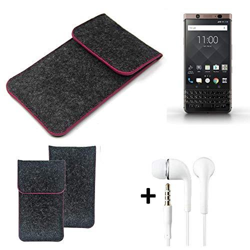 K-S-Trade Filz Schutz Hülle Für BlackBerry KEYone Bronze Edition Schutzhülle Filztasche Pouch Tasche Handyhülle Filzhülle Dunkelgrau Rosa Rand + Kopfhörer