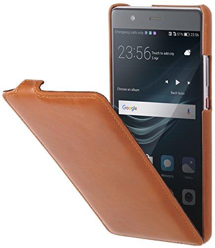 StilGut UltraSlim Hülle Hülle Leder-Tasche kompatibel mit Huawei P9 Plus, Cognac