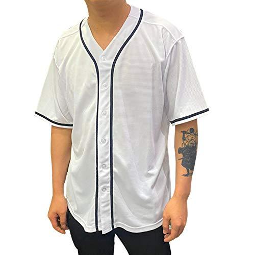 Rainbow Hawk Men's Baseball Jersey T-Shirts Plain Button Down Sports Tee Blank White Black Jersey (White, XL)