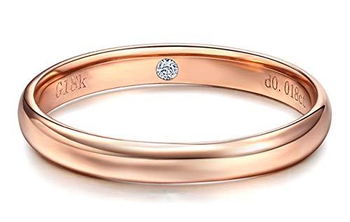 KnSam Bague Femme Fine Diamant Classique Bezel Setting, Or Rose 18 Carats Élégance Cadeau Noël