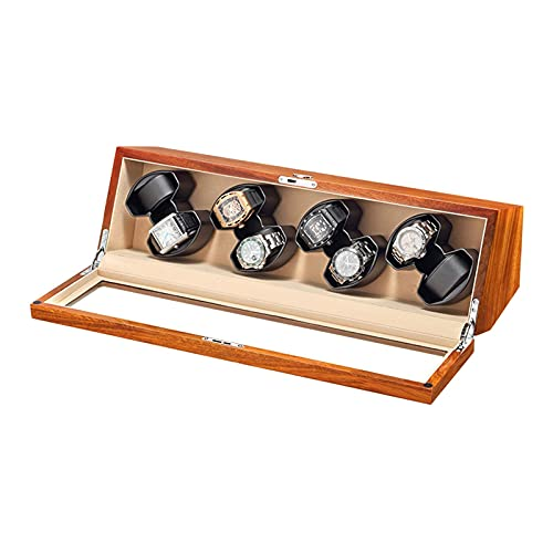 WBJLG Scatola per Carica Orologi in Legno massello per 8 Orologi Automatici con Piano in Vetro Motore Silenzioso Adattatore CA Batteria alimentata Tramite USB