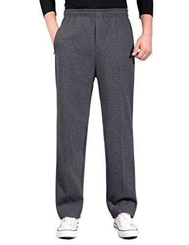 Locachy Men's Jogger Sweatpant with Zipper Pockets Elastic Waist Drawstring Pants Straight Leg Casual Athletic Pants #3 Regular A-Dark Grey XL