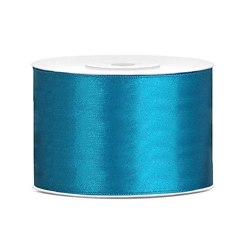 DaLoKu Satinband 6/12/25/38/50/100mm x 25m Geschenkband Schleifenband, Größe: 50mm x 25m, Farbe: Türkis