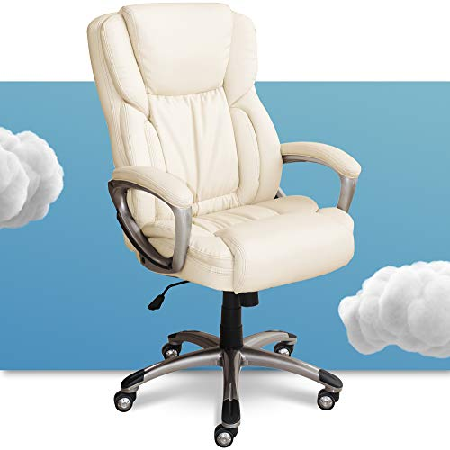 Serta 43520B Executive Office Adjustable Ergonomic Computer Chair with Layered Body Pillows, Waterfall Seat Edge, Bonded Leather, Ivory White